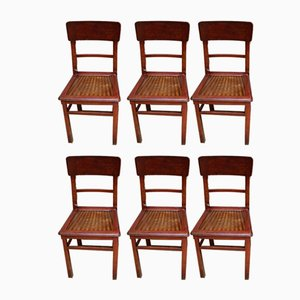 Vintage French Beech Side Chairs, 1920s, Set of 6