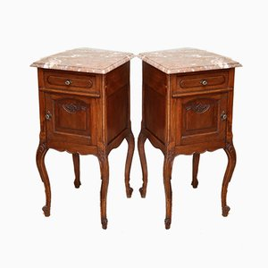 Antique French Oak & Marble Nightstands, Set of 2