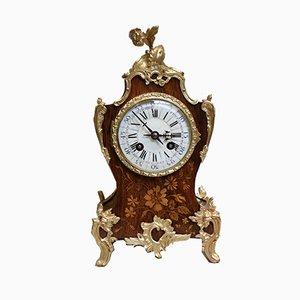 Reloj de repisa francés antiguo de palisandro y marquetería de Samuel Martí, 1889