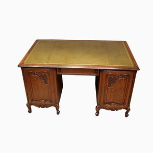 Vintage French Oak Partners Desk, 1920s