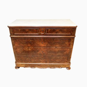 Antique French Walnut & Marble Chest of Drawers