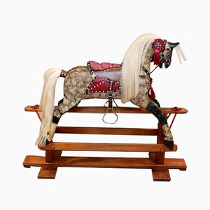 Grey Wooden Rocking Horse from Birchcraft of High Wycombe, 1930s