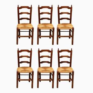 Antike französische Beistellstühle mit Gestell aus Buche & Flechtsitz, 6er Set