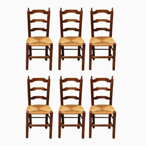 Antique French Beech & Rush Side Chairs, Set of 6