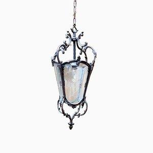Antike französische Laterne aus Bronze & geätztem Glas