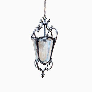 Antique French Bronze & Etched Glass Lantern