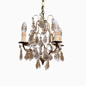 Vintage French Gilt 4-Arm Chandelier, 1920s