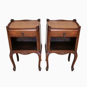 Vintage French Oak Nightstands, 1930s, Set of 2
