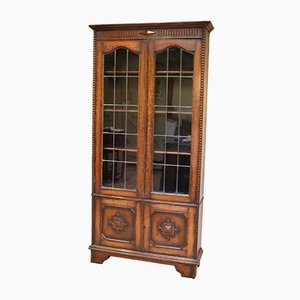 Vintage Oak Display Bookcase, 1920s
