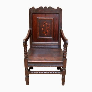 Chaise Wainscot Antique en Chêne, 17ème Siècle