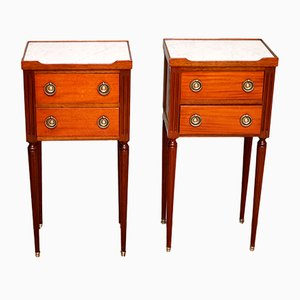 Mid-Century French Marble & Mahogany Nightstands, 1950s, Set of 2