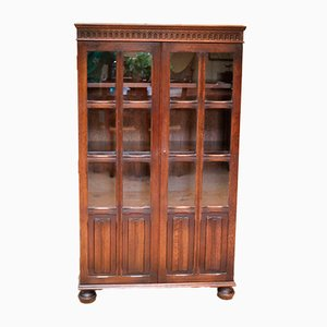 Verglastes Mid-Century Bücherregal aus Eiche, 1950er