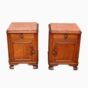 Tables de Chevet Antiques en Chêne et Marbre, France, Set de 2