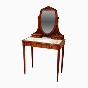 Antique French Glass & Oak Dressing Table