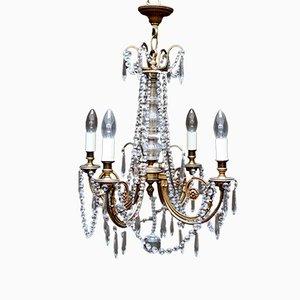 Lámpara de araña francesa vintage de latón, años 20