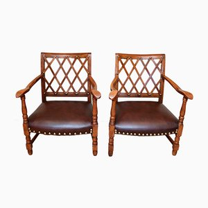 Vintage French Beech Armchairs, 1920s, Set of 2