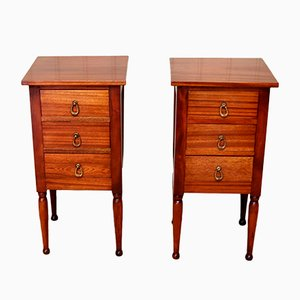 Vintage French Mahogany Nightstands, 1920s, Set of 2