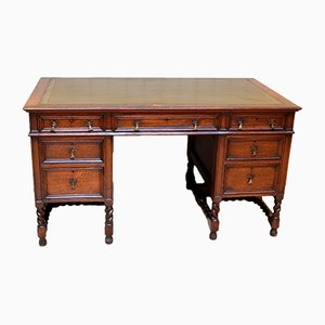 Large Antique Oak Pedestal Desk