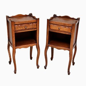 Vintage French Oak Bedside Cabinets, 1920s, Set of 2