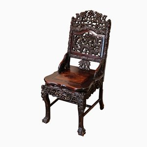 Chaise d'Appoint Antique en Bois Sculpté, Chine