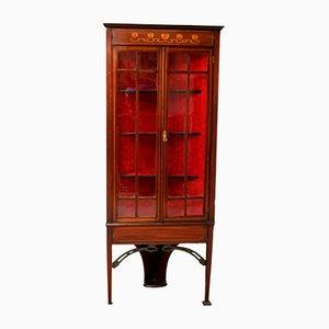 Antique Art Nouveau Mahogany Corner Cabinet