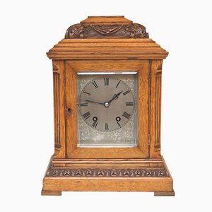Small Antique Edwardian Oak Bracket Clock from Samuel Marti