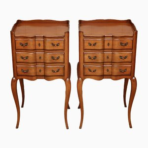Mid-Century French Cherry Nightstands, 1950s, Set of 2
