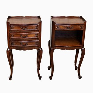 Vintage French Oak Nightstands, 1920s, Set of 2