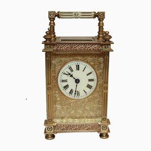 Antike französische Reiseuhr mit Glasgehäuse