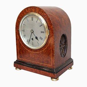 Antike Uhr aus Glas & Vogelaugenhornfurnier von Gillet & Johnston of Croydon, 1910er