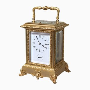 Large Antique French Gilt Ormolu Carriage Clock in Case