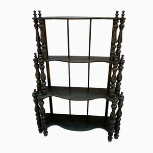 Antique Italian Black Lacquered Walnut Shelf