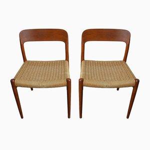 Chaises de Salle à Manger Modèle 75 en Teck et Cordon en Papier par Niels Otto Møller pour J.L. Møllers, Danemark, 1960s, Set de 2