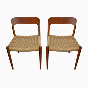 Danish Model 75 Teak & Paper Cord Dining Chairs by Niels Otto Møller for J.L. Møllers, 1960s, Set of 2