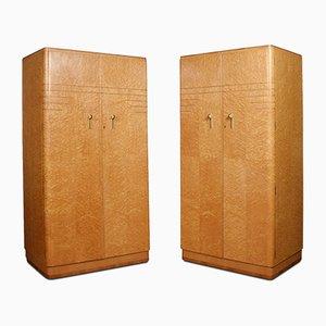 Art Deco Kleiderschränke mit 2 Türen, 1920er, 2er Set