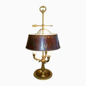 Lámpara Bouillotte francesa estilo Imperio de bronce y metal, años 40