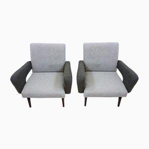 Czechoslovak Grey Lounge Chairs from Jitona, 1960s, Set of 2