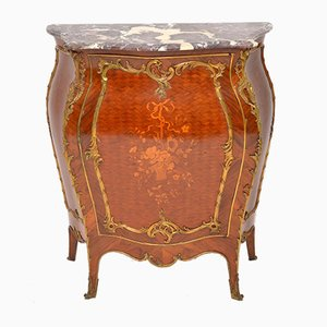 Antique French Marble & Wood Bombe Cabinet