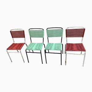Italian Iron and Rubber Dining Chairs, 1950s, Set of 4