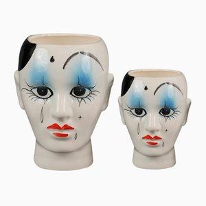 Macetas de cerámica, años 80. Juego de 2