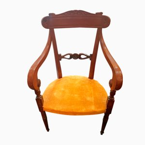 Antique Italian Walnut Lounge Chair