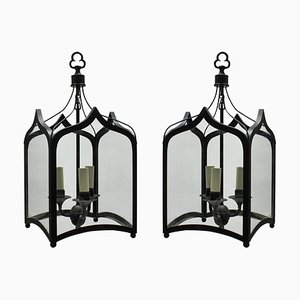Mid-Century Gothic Style Iron Ceiling Lamps, 1960s, Set of 2