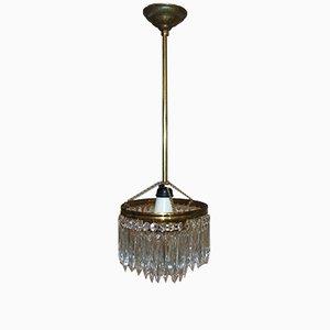 Lámpara de araña Mid-Century industrial antigua de vidrio y latón