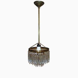 Mid-Century Industrial Antiqued Glass and Brass Chandelier