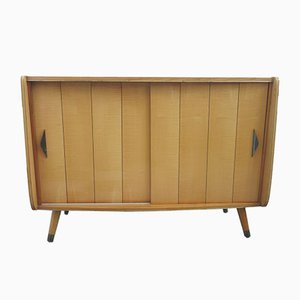 Mid-Century German Beech Sideboard with 2 Sliding Doors, 1960s