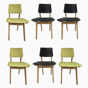 Mid-Century Black & Green Dining Chairs, 1950s, Set of 6