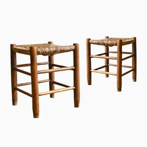 Französische Mid-Century Holzhocker mit geflochtenem Sitz, 1960er, 2er Set