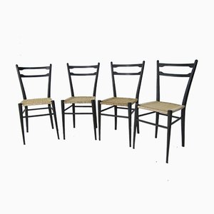 Italian Beech Dining Chairs by Gio Ponti, 1950s, Set of 4