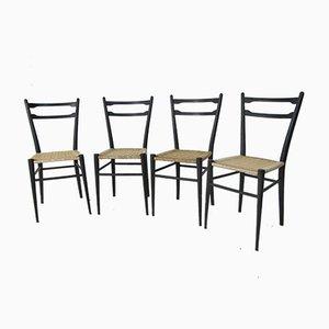 Italienische Esszimmerstühle aus Buche von Gio Ponti, 1950er, 4er Set