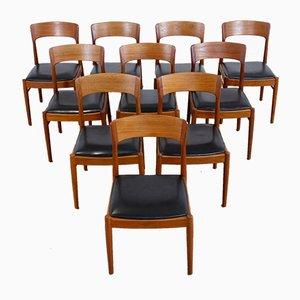 Chaises de Salle à Manger en Teck et Cuir par Kai Kristiansen pour KS Møbler, Danemark, 1960s, Set de 10